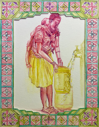 Intelligent African woman with baby filling water jerry can