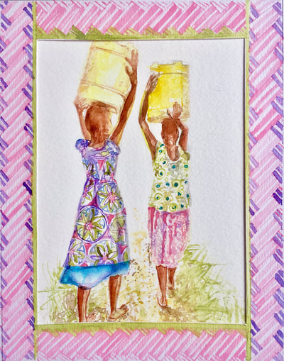 Fearless african girl duo fetching water